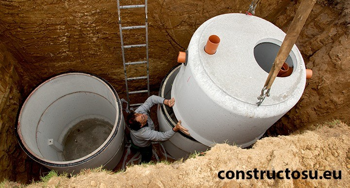 Montaj fosă septică din inele beton