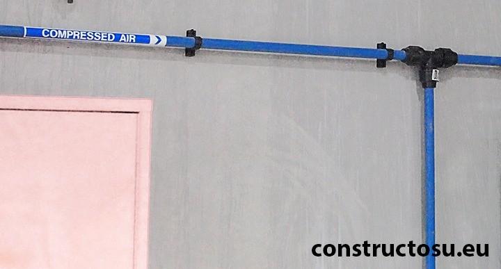 Linie de aer comprimat cu țeavă din plastic