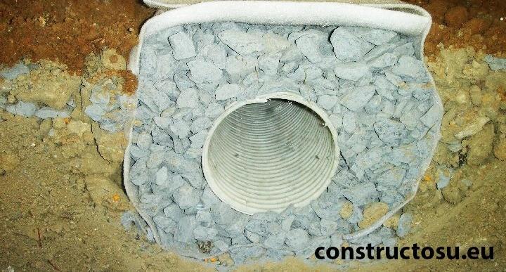 Sistem de drenaj pentru fundație cu demisol