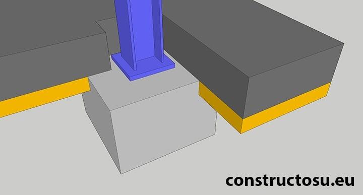 Stâlp de oțel fixat în fundație de beton care susține și placa de beton elicopterizat al halei