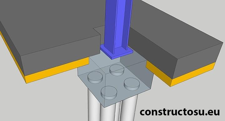 Vizualizare piloni dimensiuni mari sub fundație